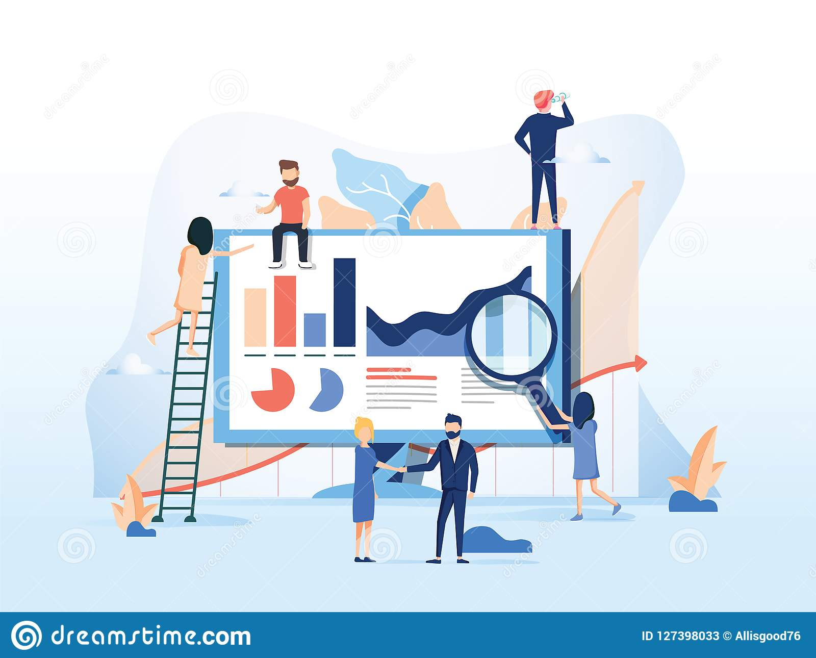 Vector illustration. Creative teamwork. People are building a business project on the Internet. The monitor screen