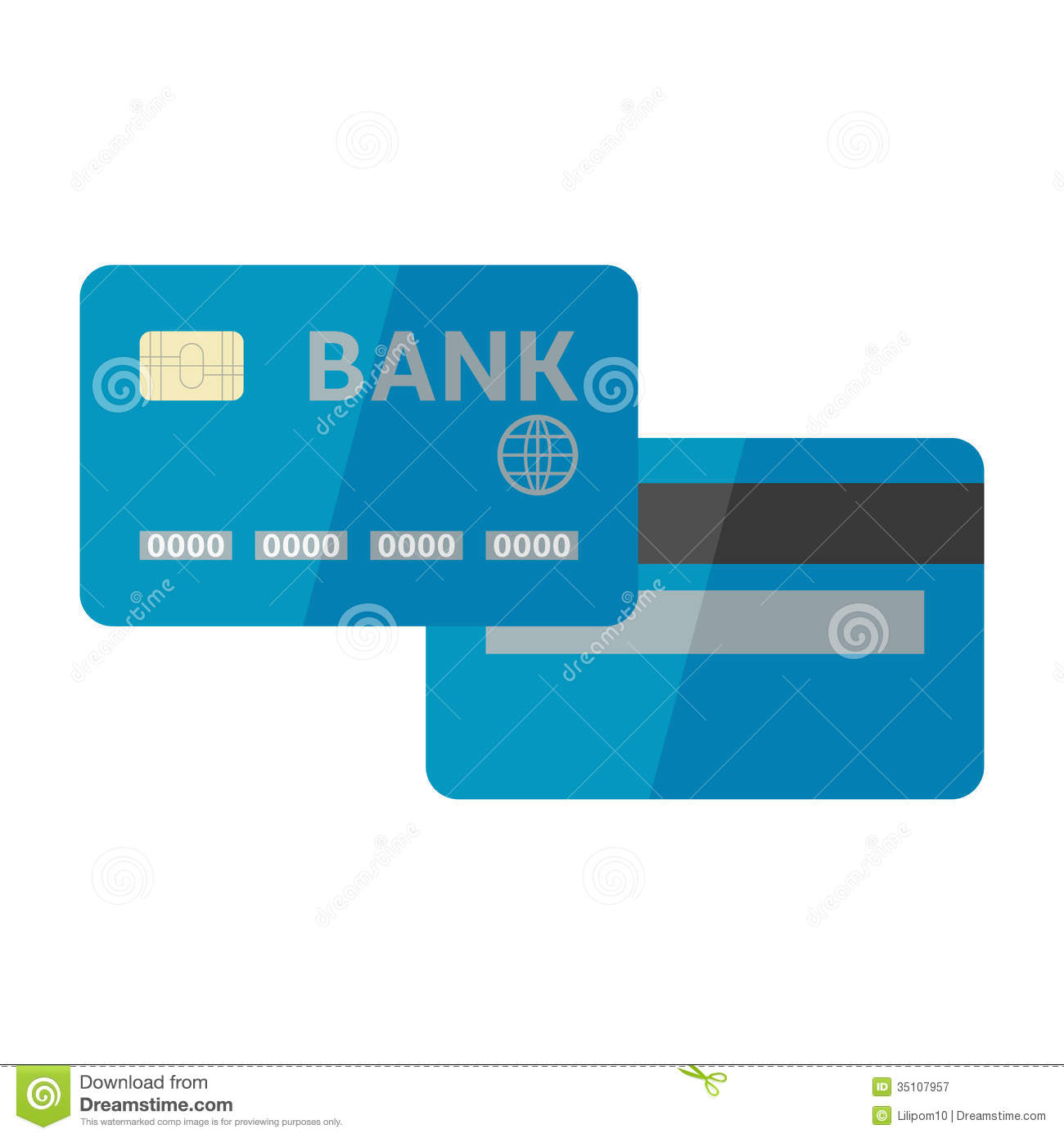 Vector Illustration Of Credit Card Isolated On Whi Royalty Free ...