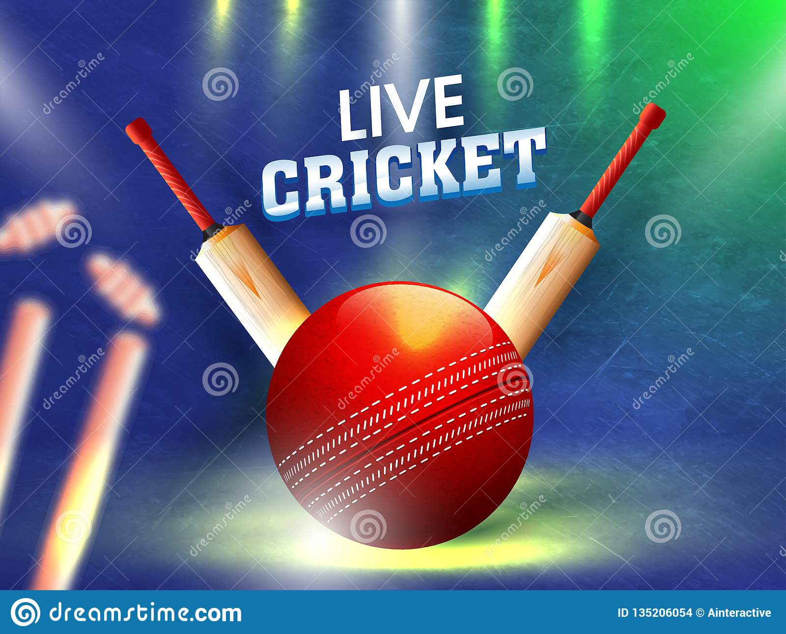 Vector Illustration Of Cricket Ball With Bat On Blurry Background