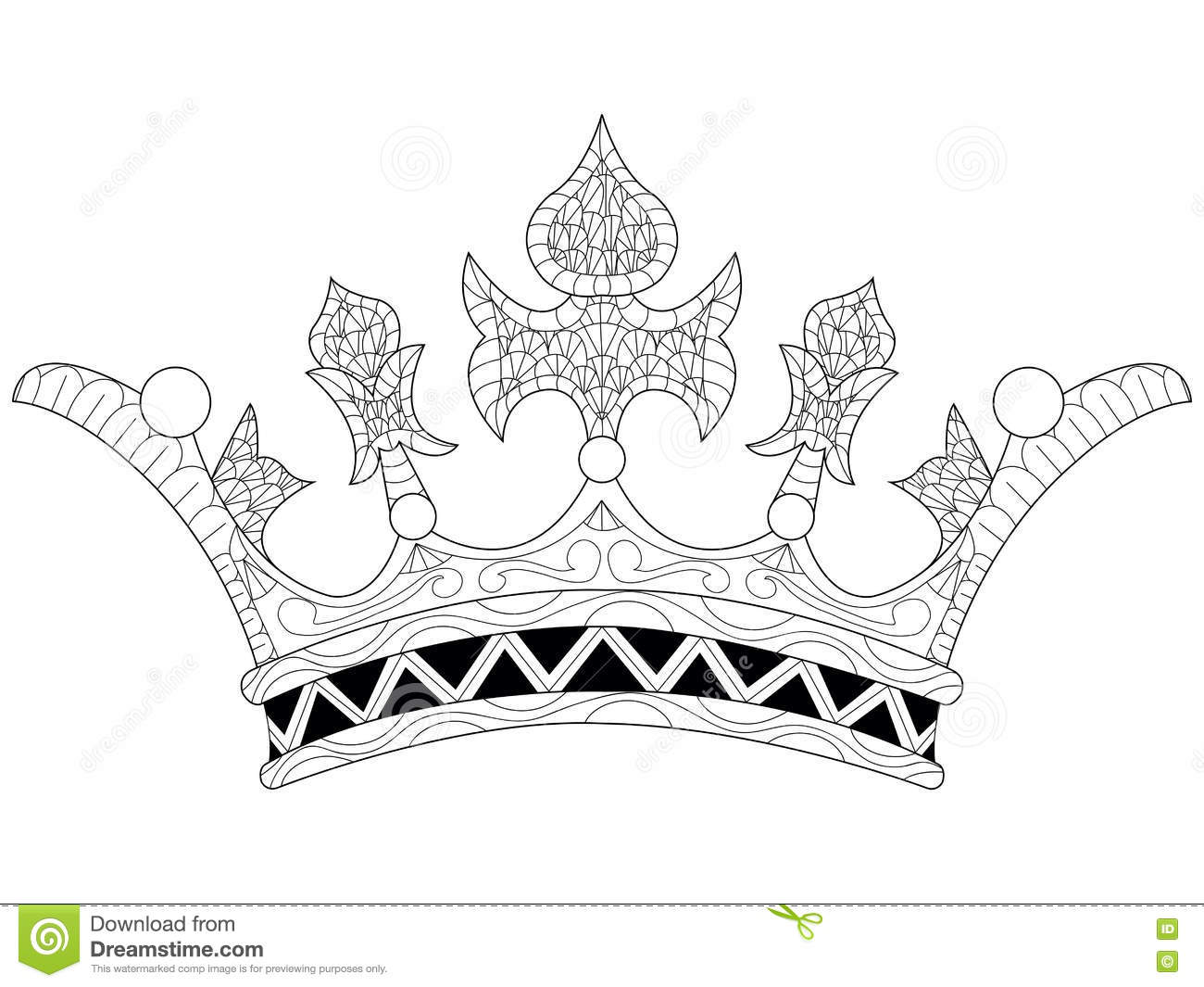 Vector Illustration Of A Crown Coloring Book Stock Vector ...
