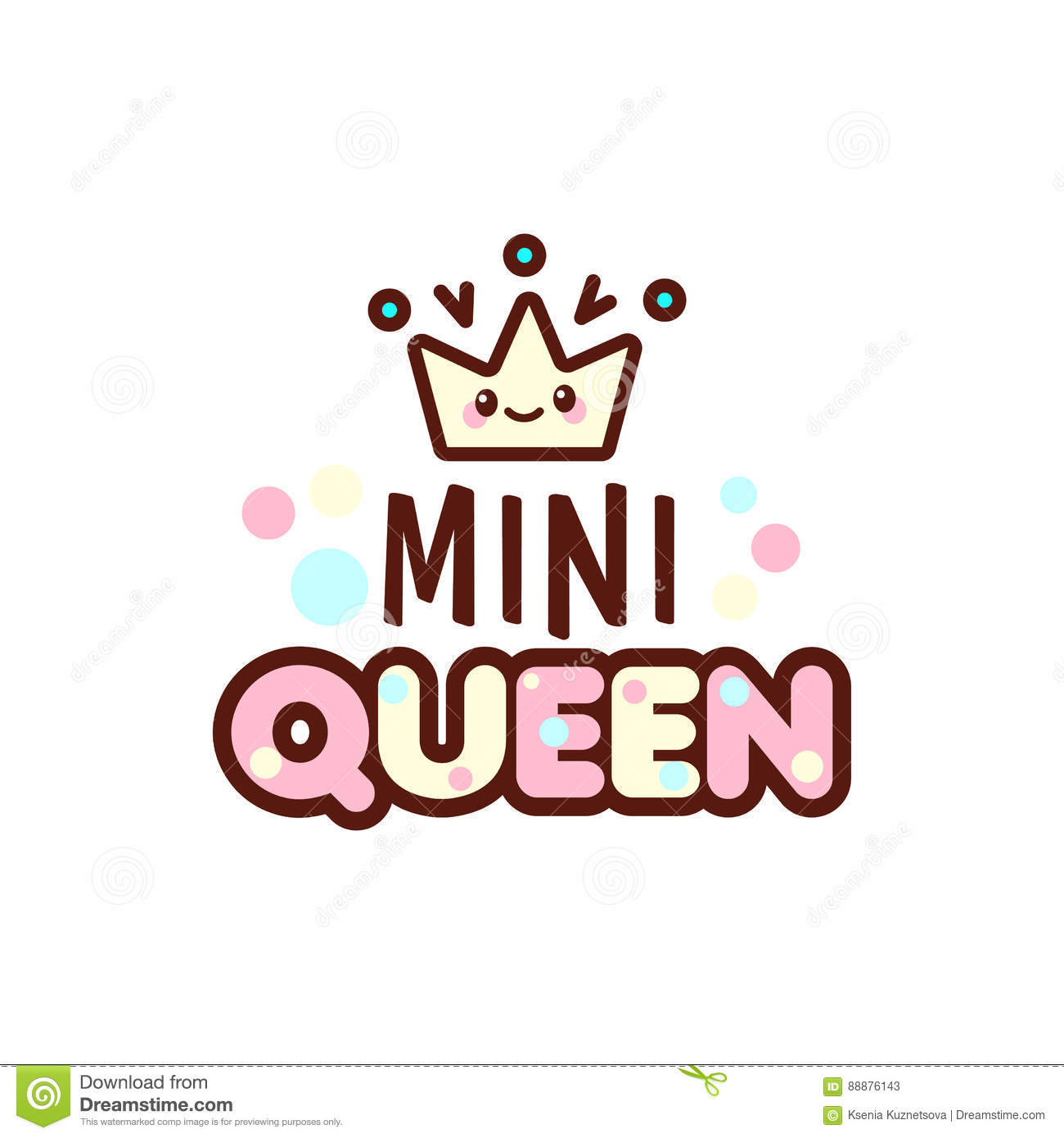 the vector illustration of crown and mini queen text with stylish