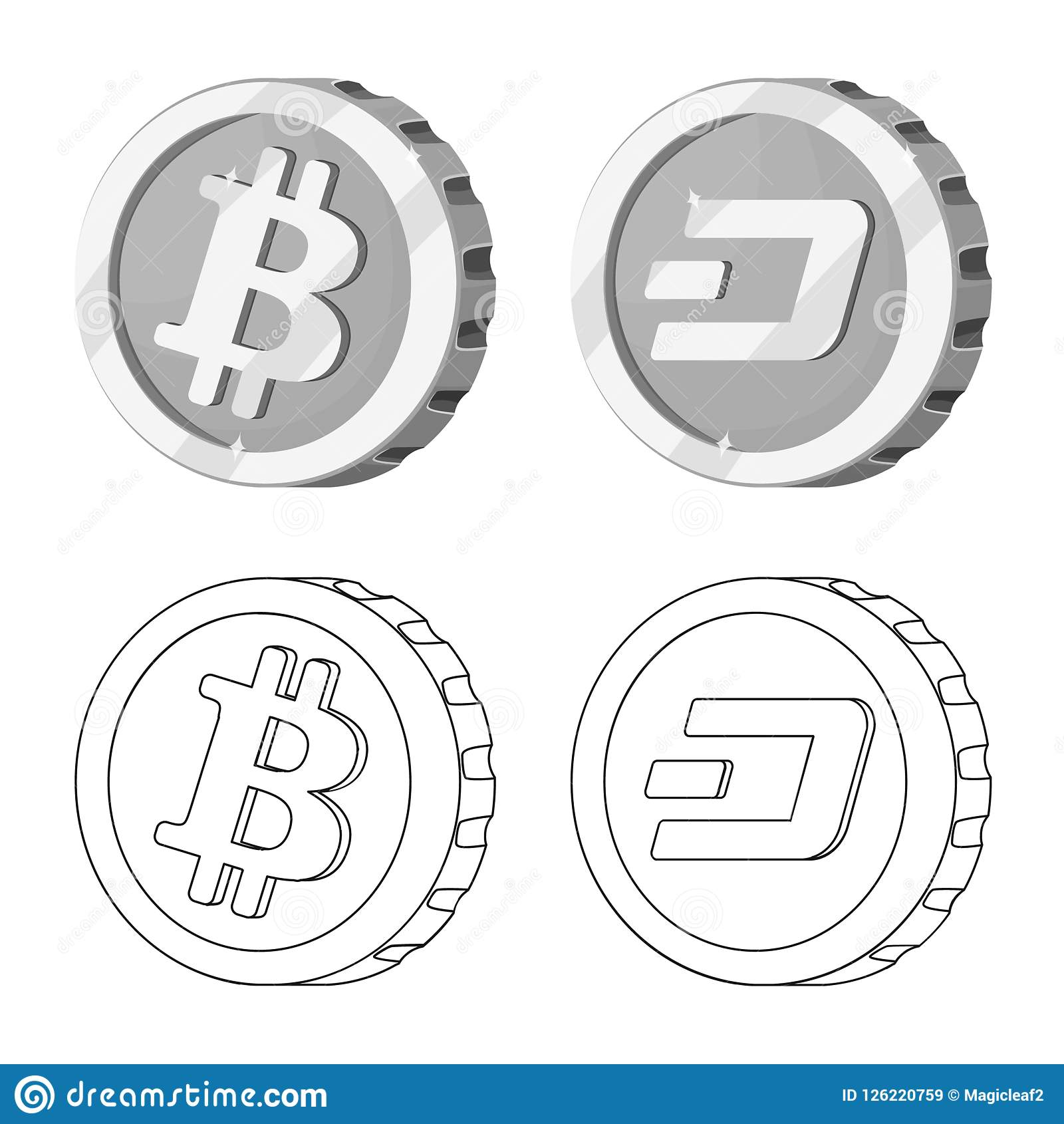 Vector Design Of Cryptocurrency And Coin Sign Collection Of