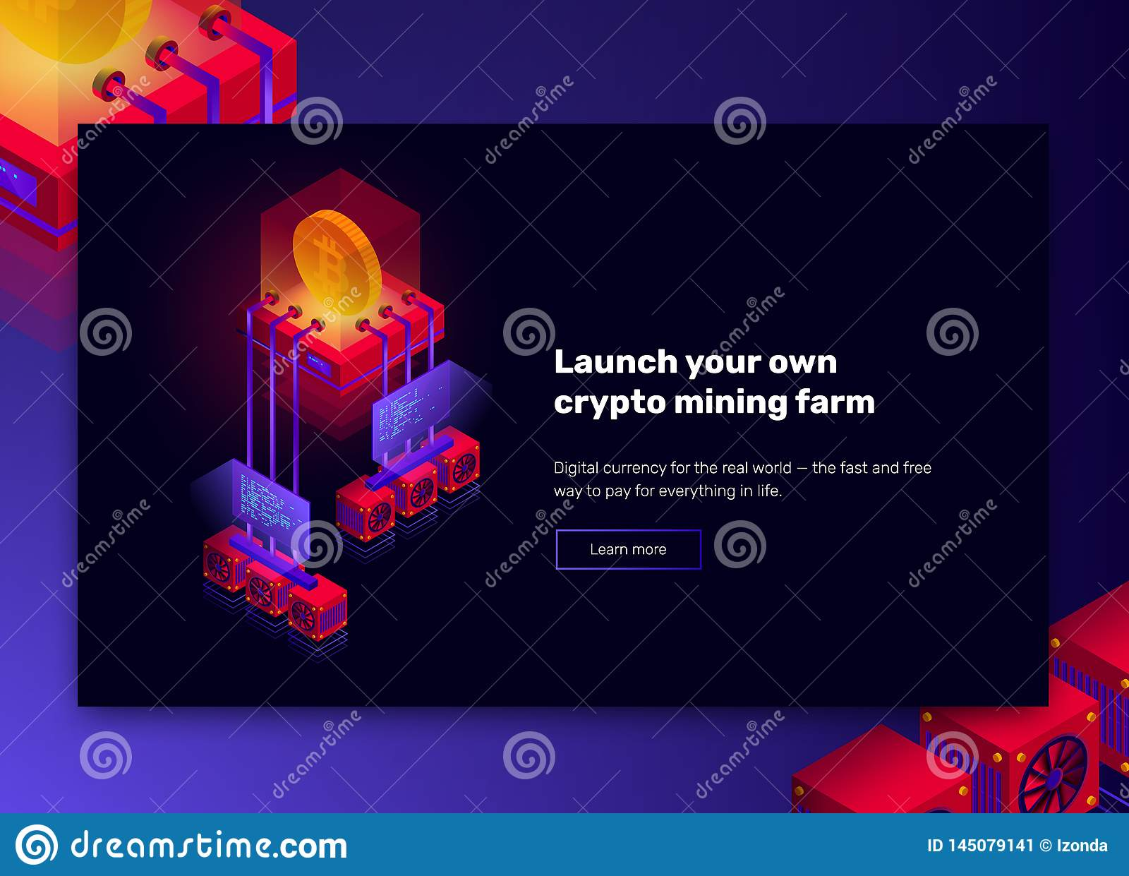 Vector illustration of cryptocurrency mining farm, big data processing for bitcoin, blockchain isometric concept