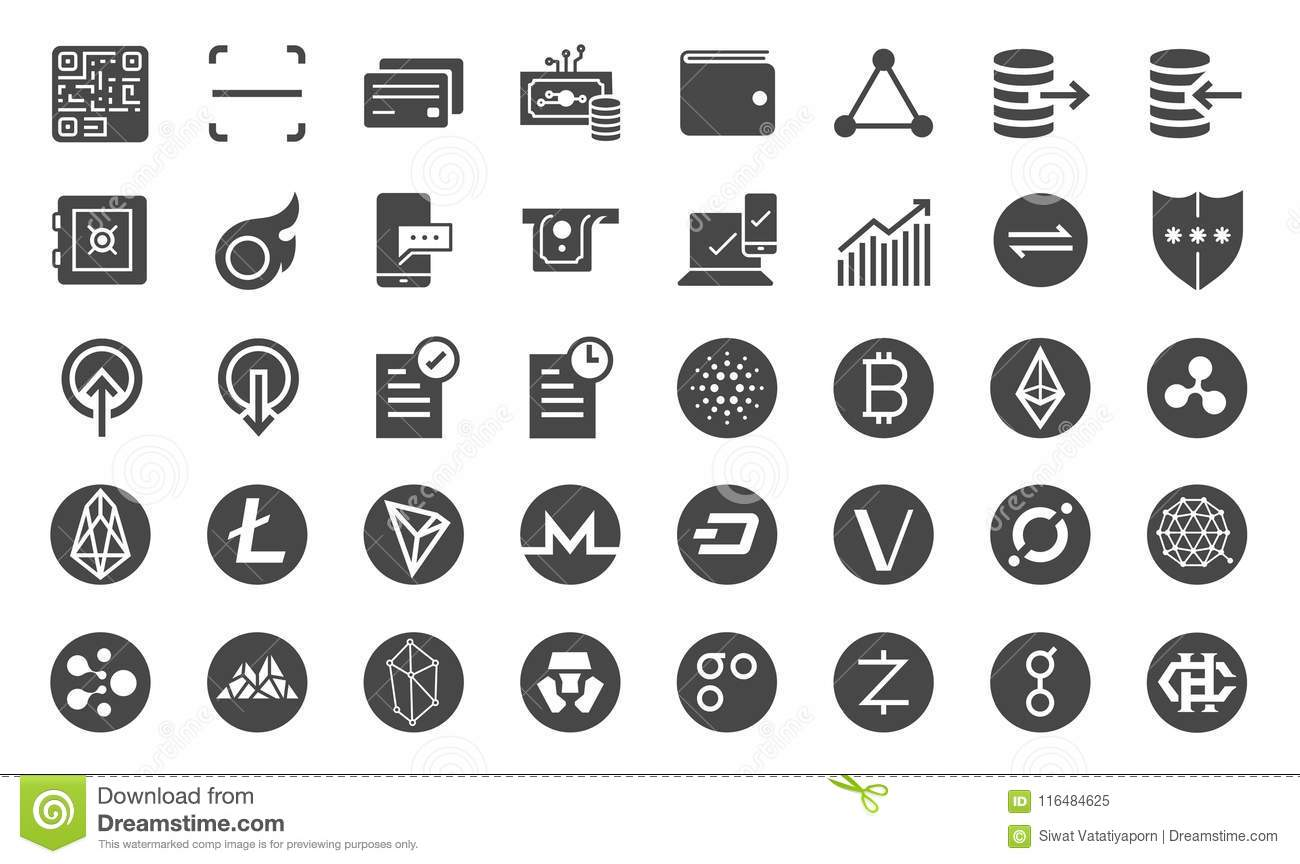 Cryptocurrency trading icon set. Included the icons as crypto coins, digital currency market, online trade, Blockchain, digital