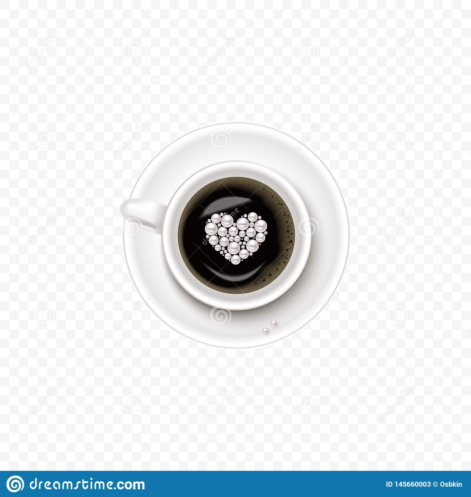 A Cup of Coffee and saucer, top view, realistic vector cup with heart in pearl