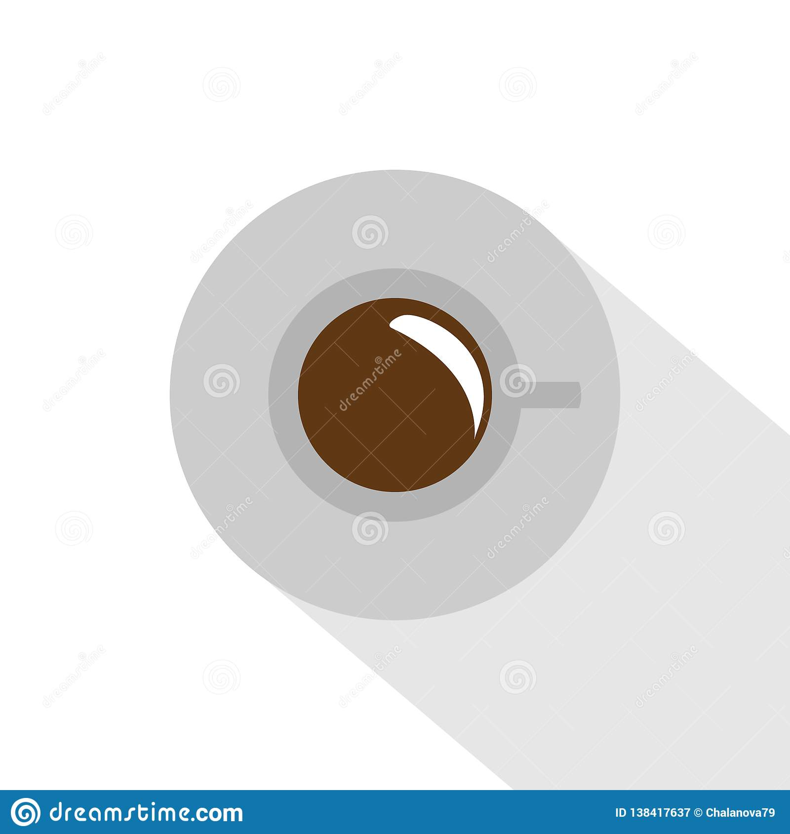 Vector illustration. Cup of coffee on the table. Flat design. Cup with shadow. Top View.