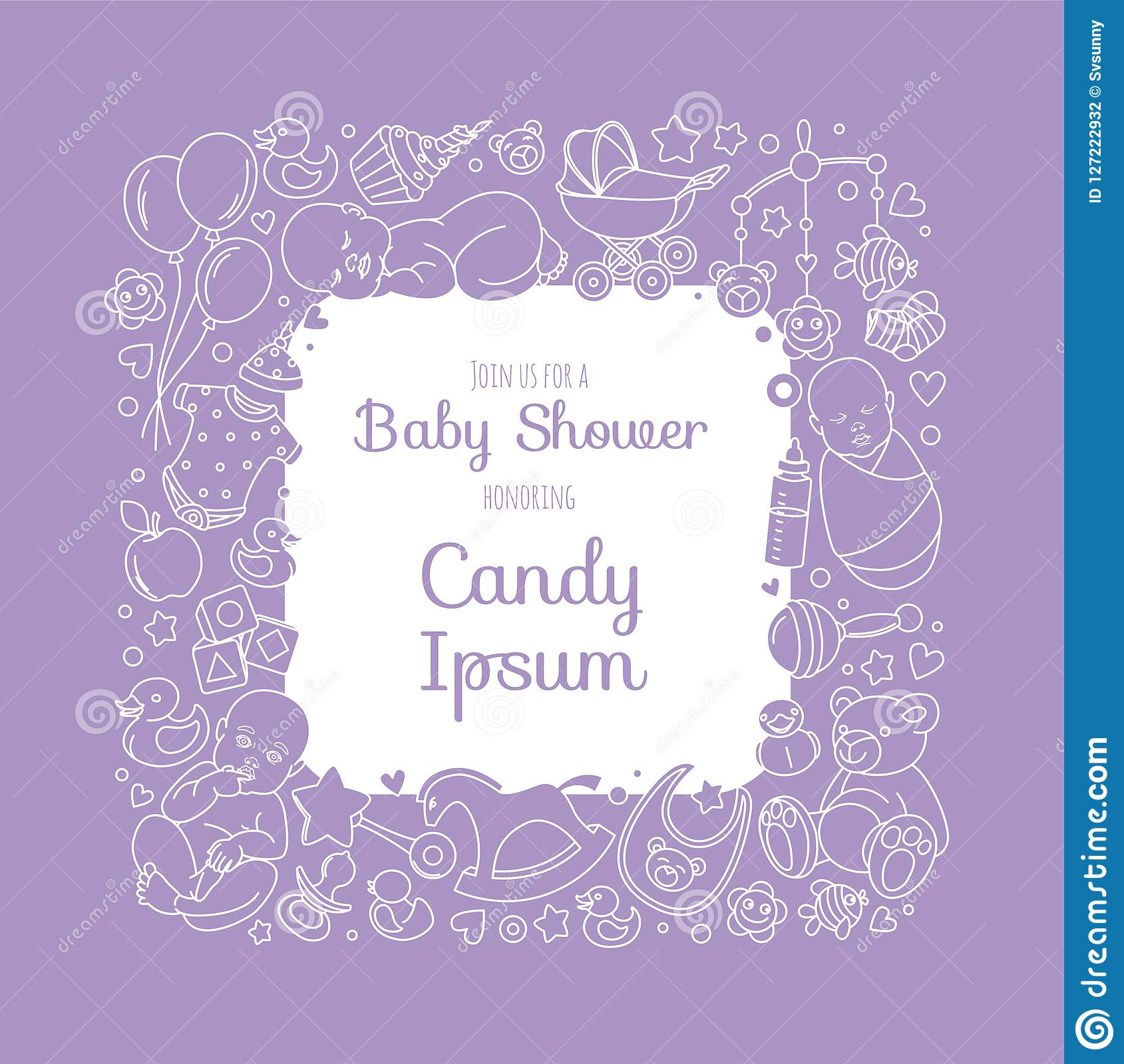 Cute Baby Shower Invitation Card For Newborn Boy Girl Party Stock