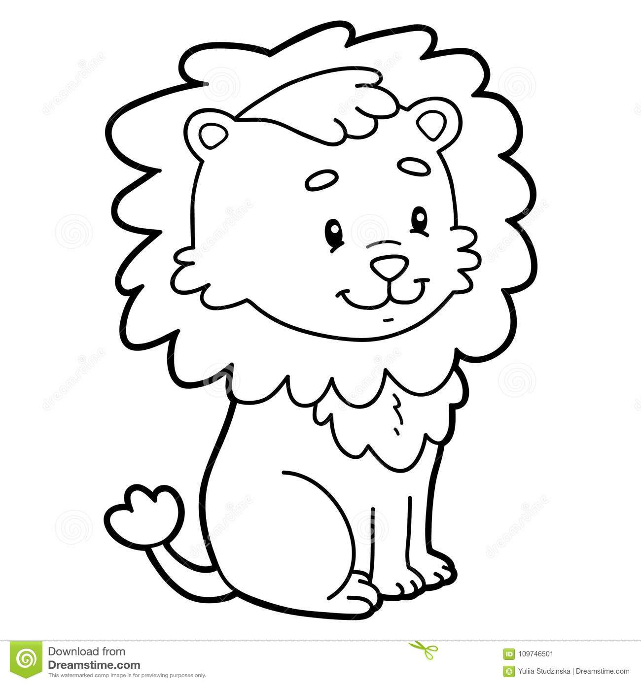 Coloring Page Cartoon Lion Stock Vector Illustration Of Little