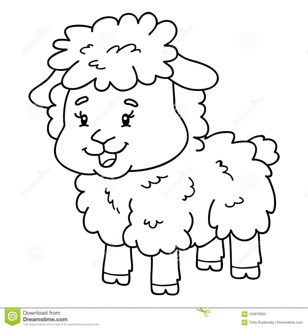 Coloring Page Cartoon Sheep Stock Vector - Illustration of vector ...