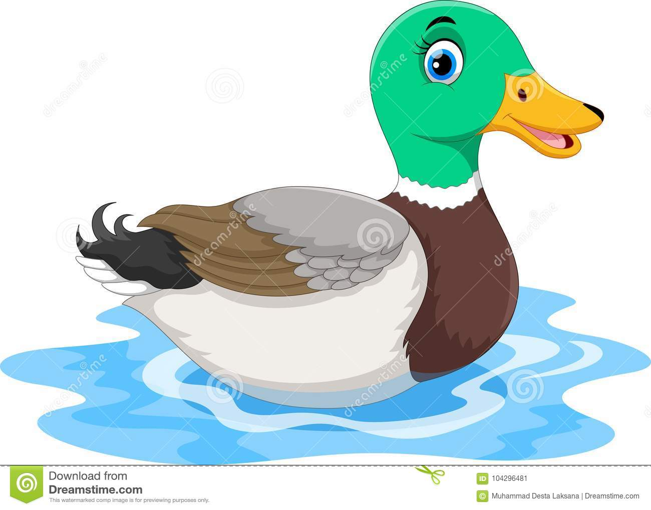 Cute Cartoon Duck Swimming Isolated On White Background ...