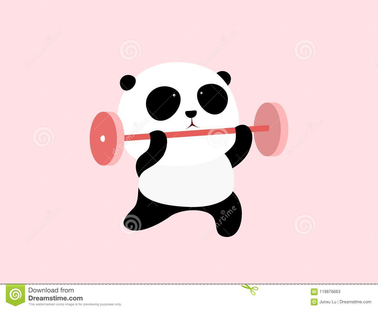 Vector Illustration A Cute Cartoon Giant Panda Is Doing Weight