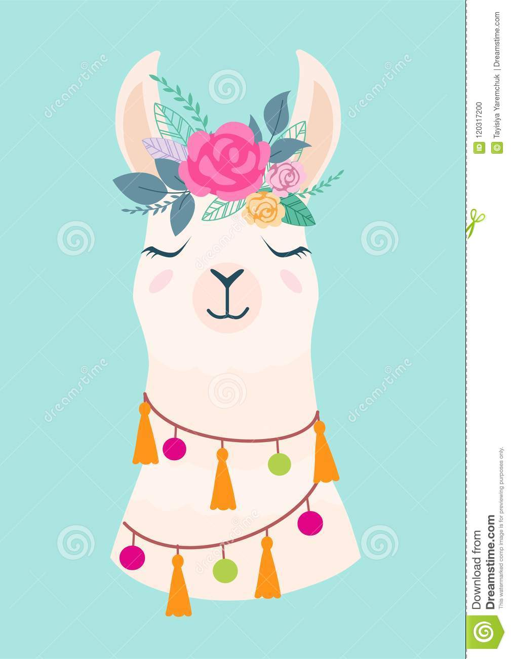 Vector illustration of cute cartoon llama with flowers. Stylish drawing for birthday cards, party invitations, poster and postcard