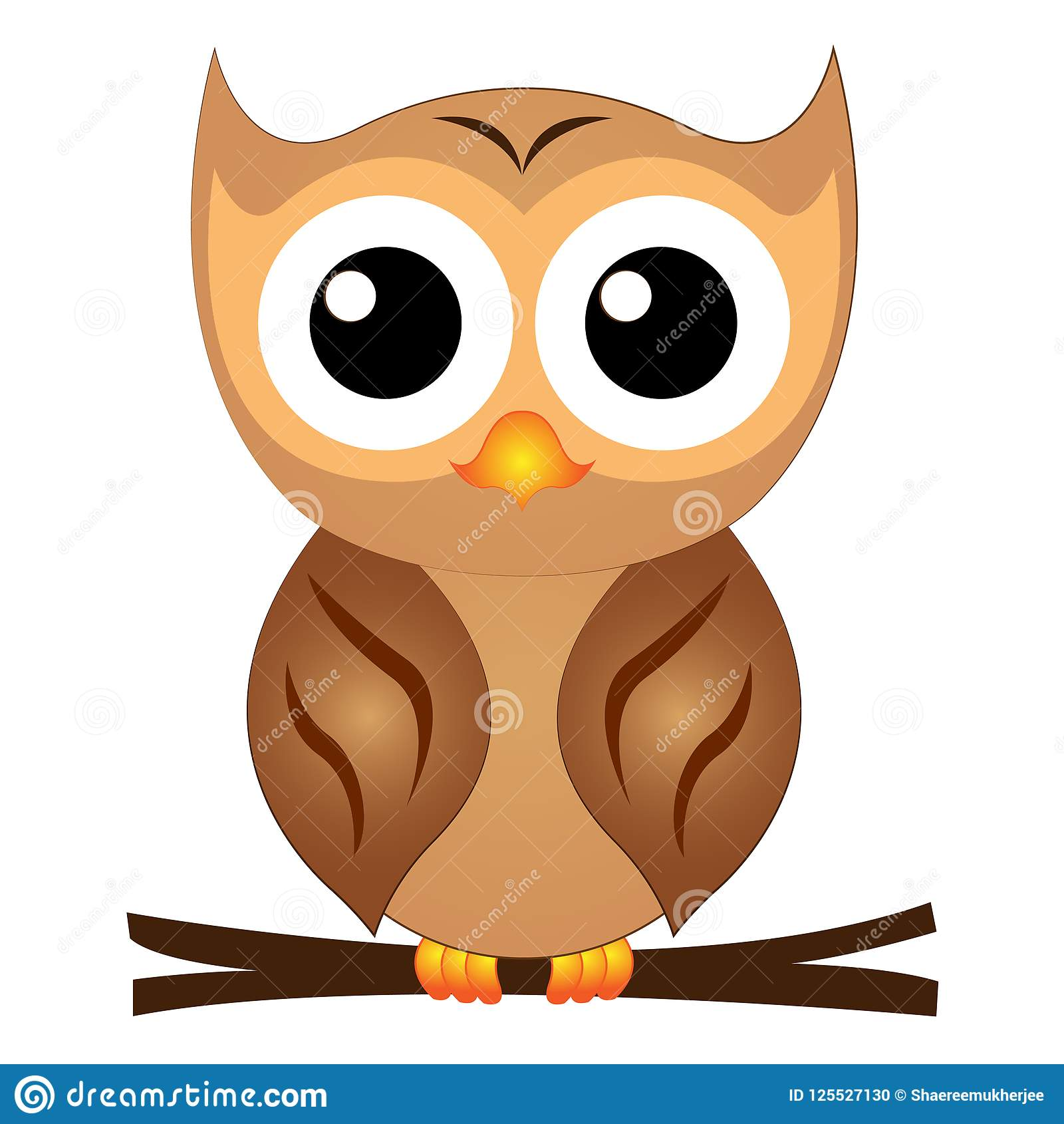 Vector Illustration Cute Cartoon Owl Stock Vector ...