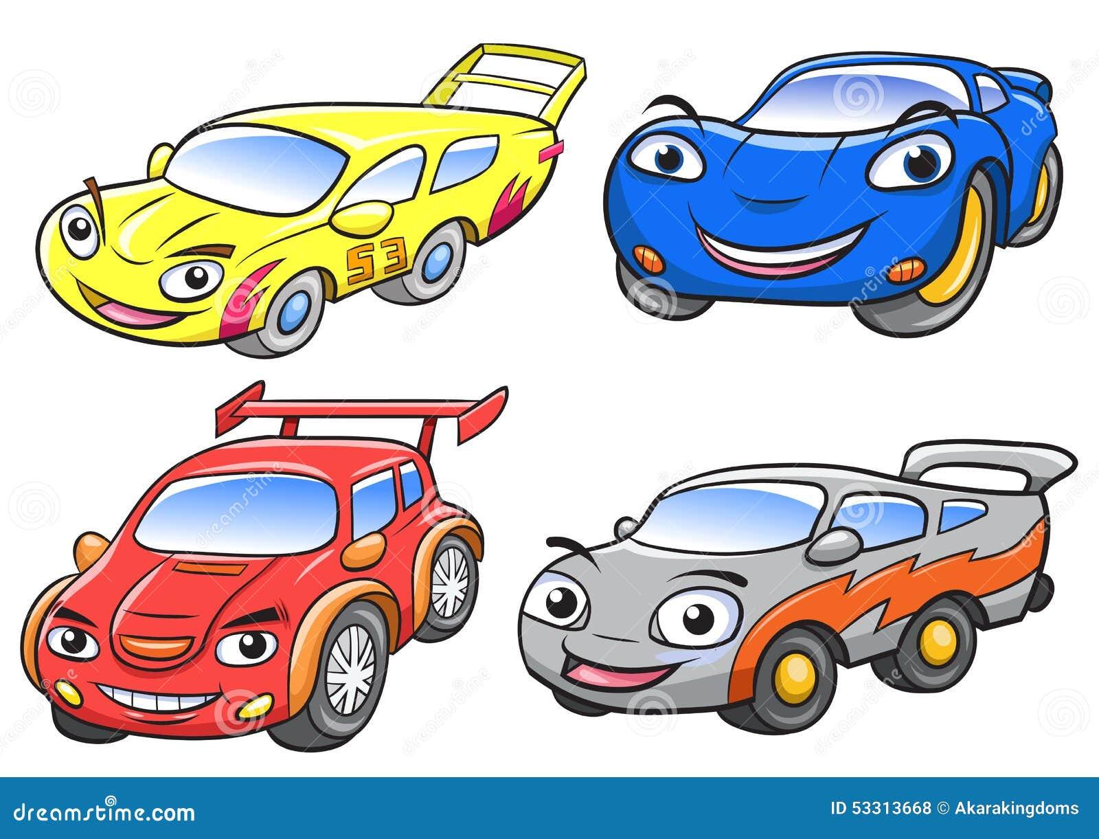 Vector Illustration Of Cute Cartoon Racing Car Characters Stock