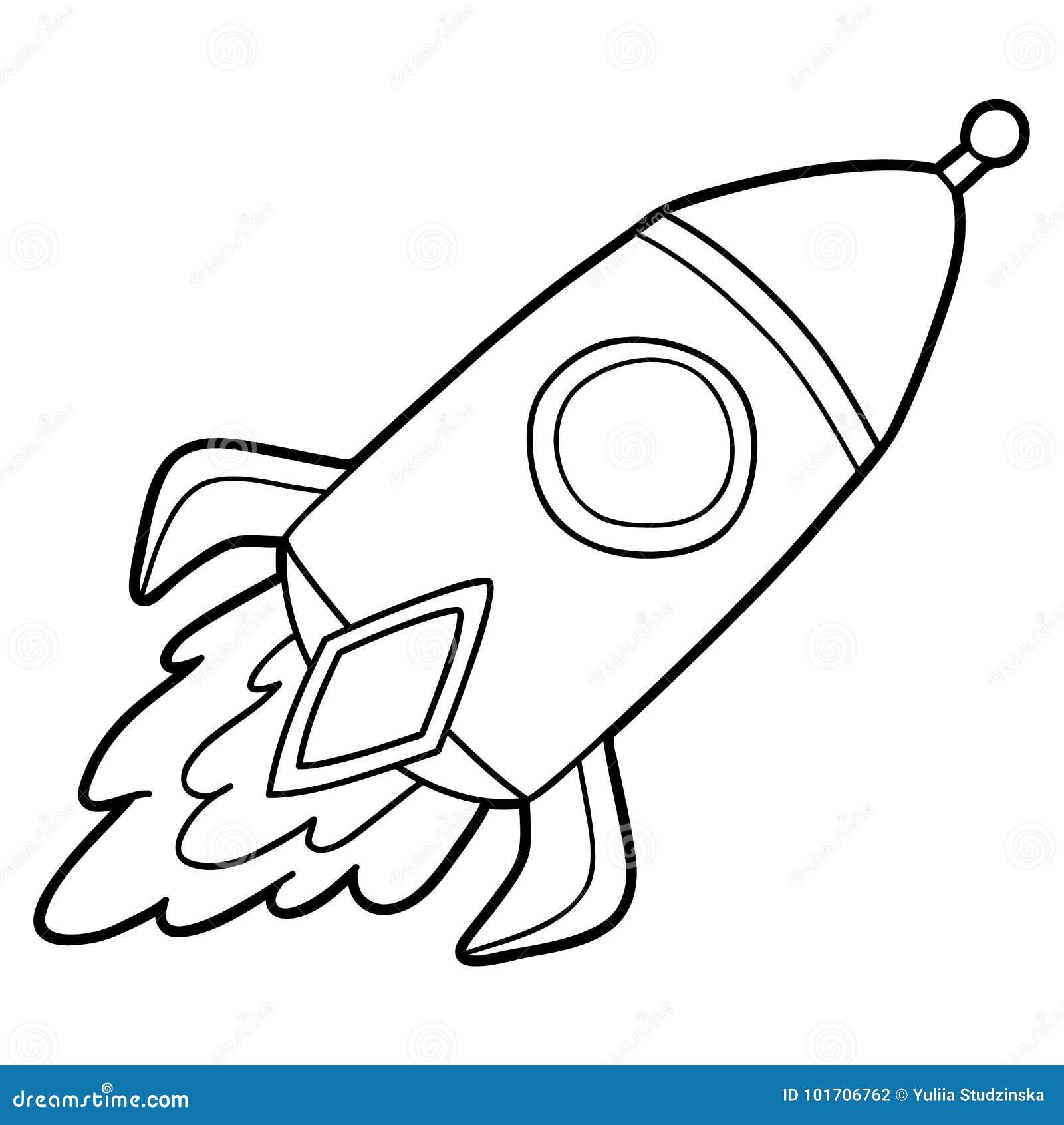 vector illustration cute cartoon rocket character children coloring page outline rocket