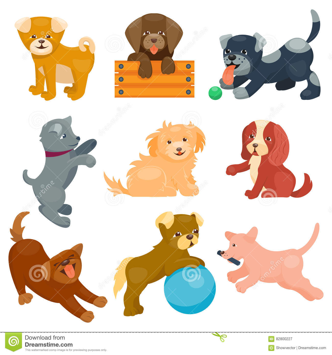 Vector illustration cute dogs characters.