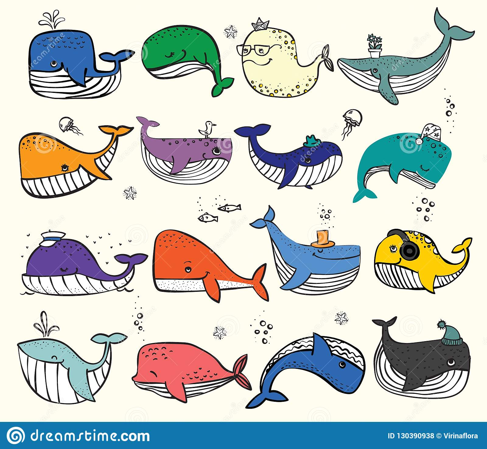 Doodle Ocean Whales In Color And Other Sea Inhabitans Stock Vector