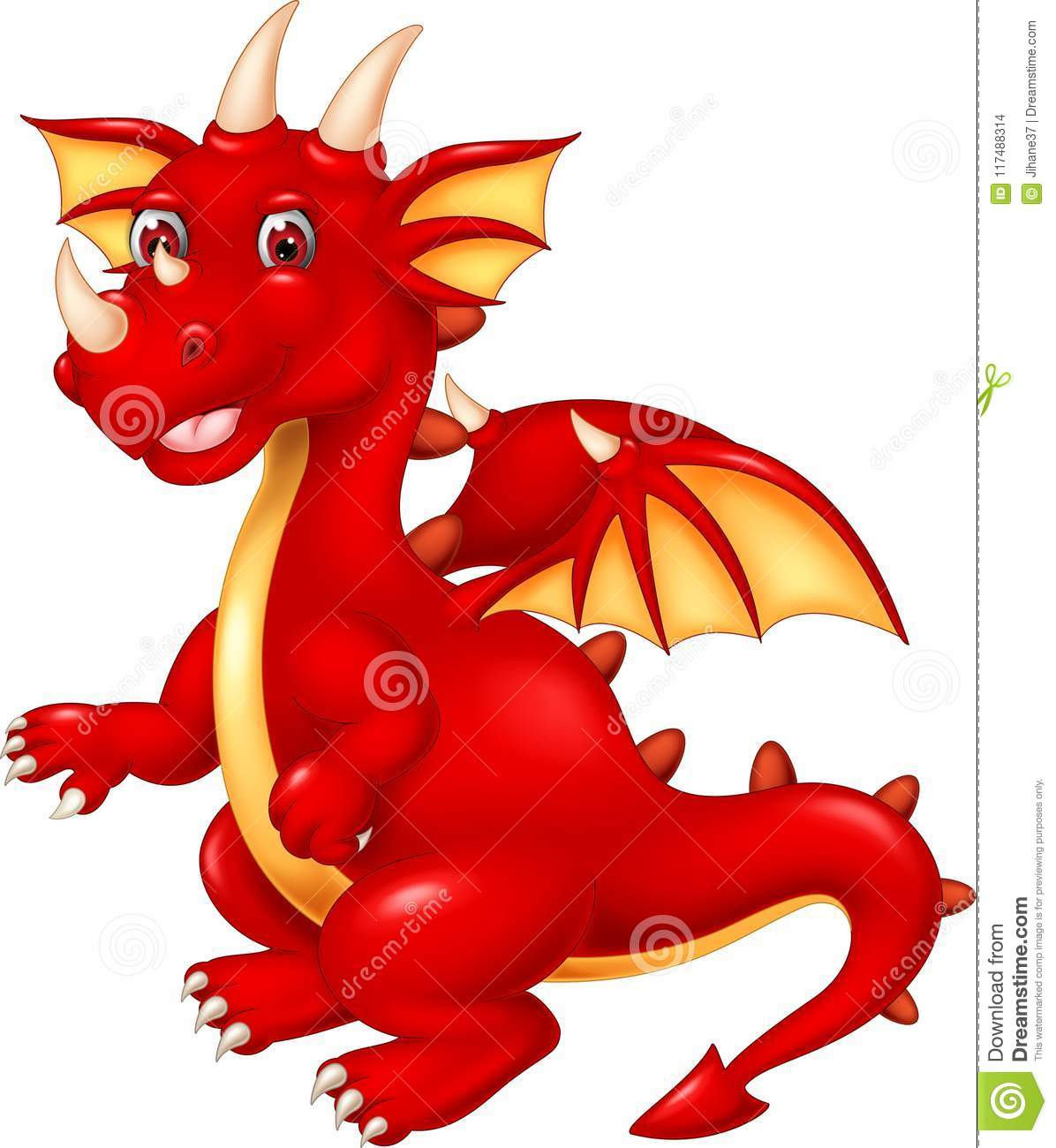 Cute dragon cartoon posing with smiling and waving