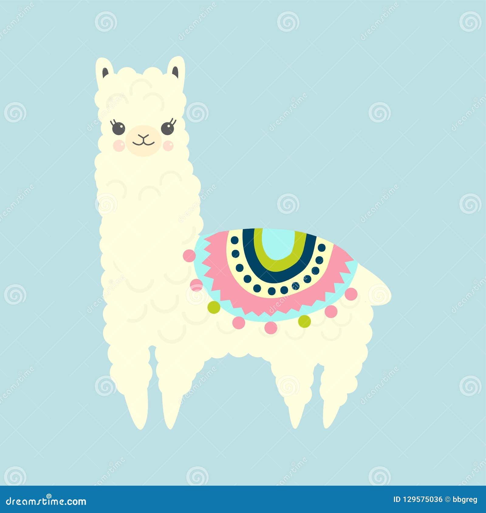 vector illustration of cute fluffy cartoon llama or alpaca