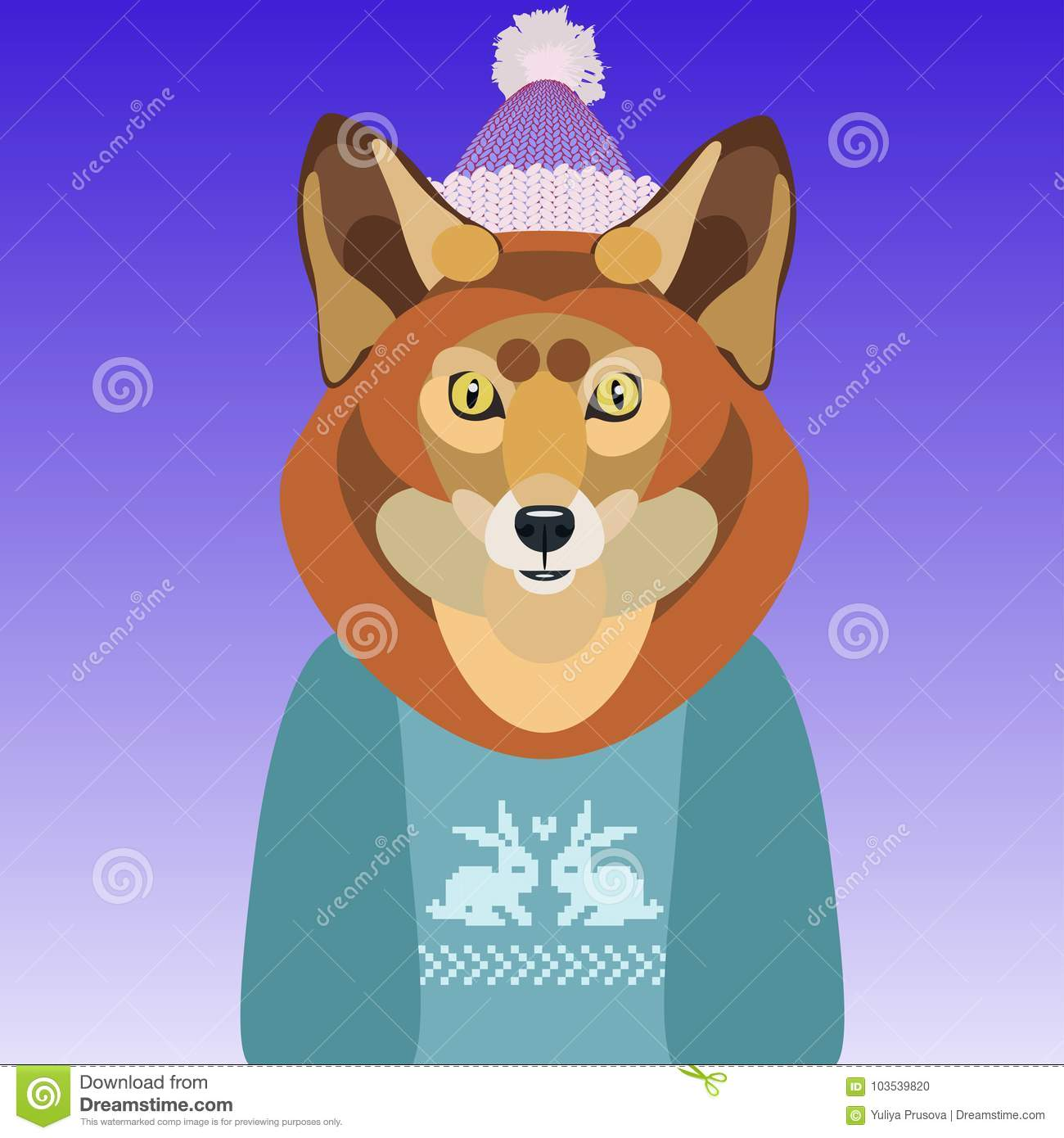 b2ea847f4 Vector Illustration Of A Cute Fox In A Sweater And Hat On Background ...
