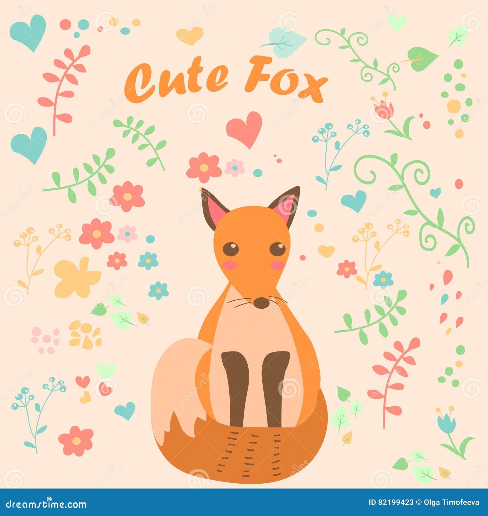 Retro Cartoon Clever Fox Stock Photography