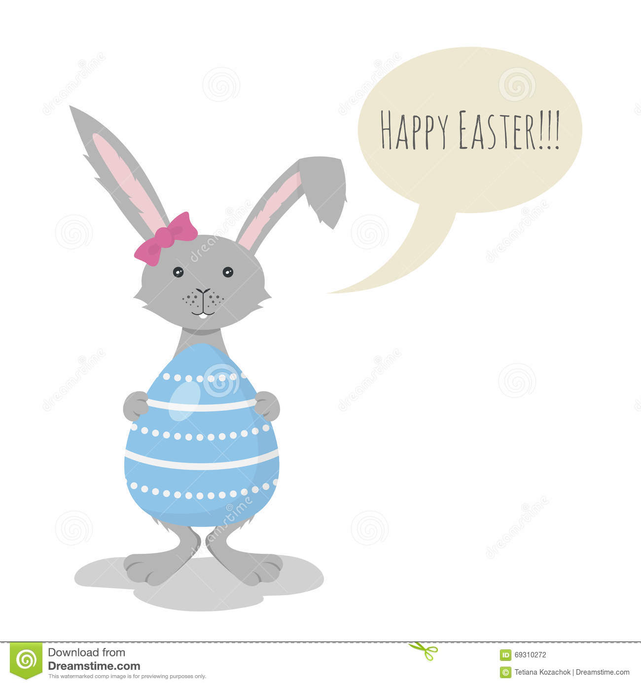 Vector illustration of cute grey easter bunny stock vector vector illustration of cute grey easter bunny holding blue easter egg speech bubble and the words happy easter in it m4hsunfo