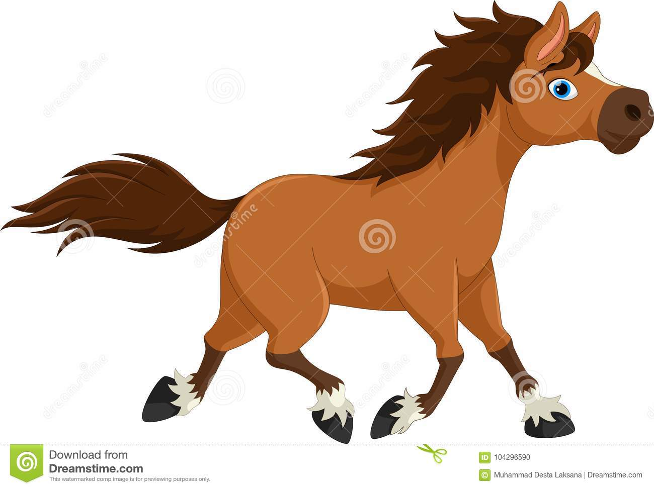 Cute Horse Cartoon Running On White Background Stock Illustration Illustration Of Animal Mouth 104296590