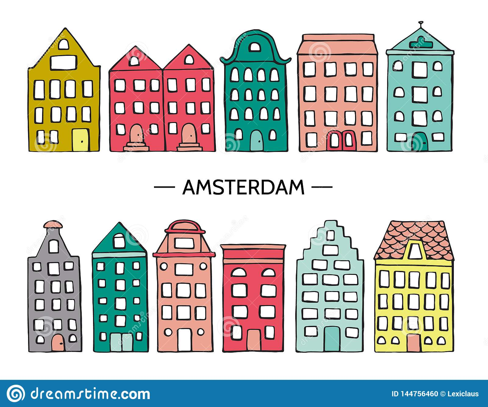 Vector illustration of cute houses