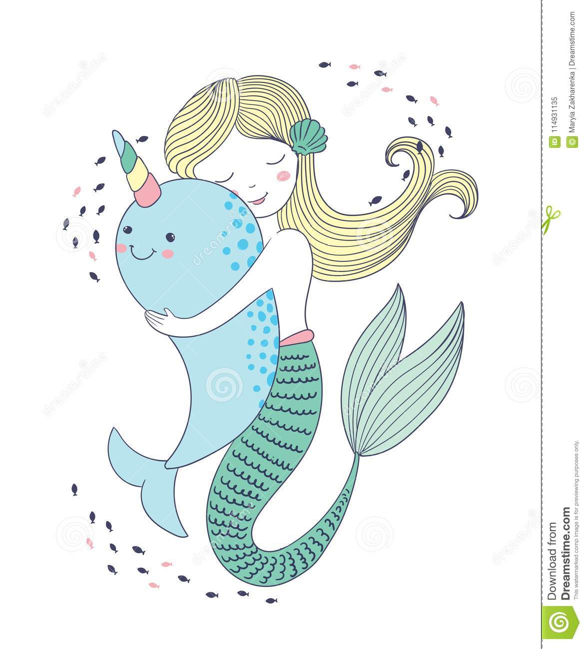 Vector Illustration Of Cute Kawaii Mermaid Hugs A Whale Hand Drawn