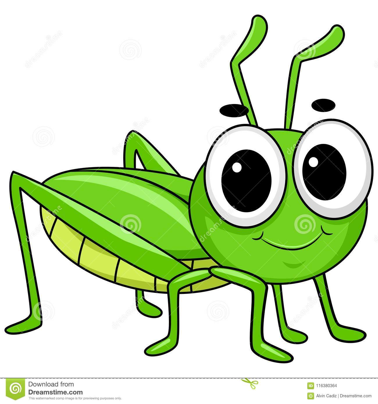 Aninimal Book: Vector Illustration Of Cute Little Grasshopper Stock ...