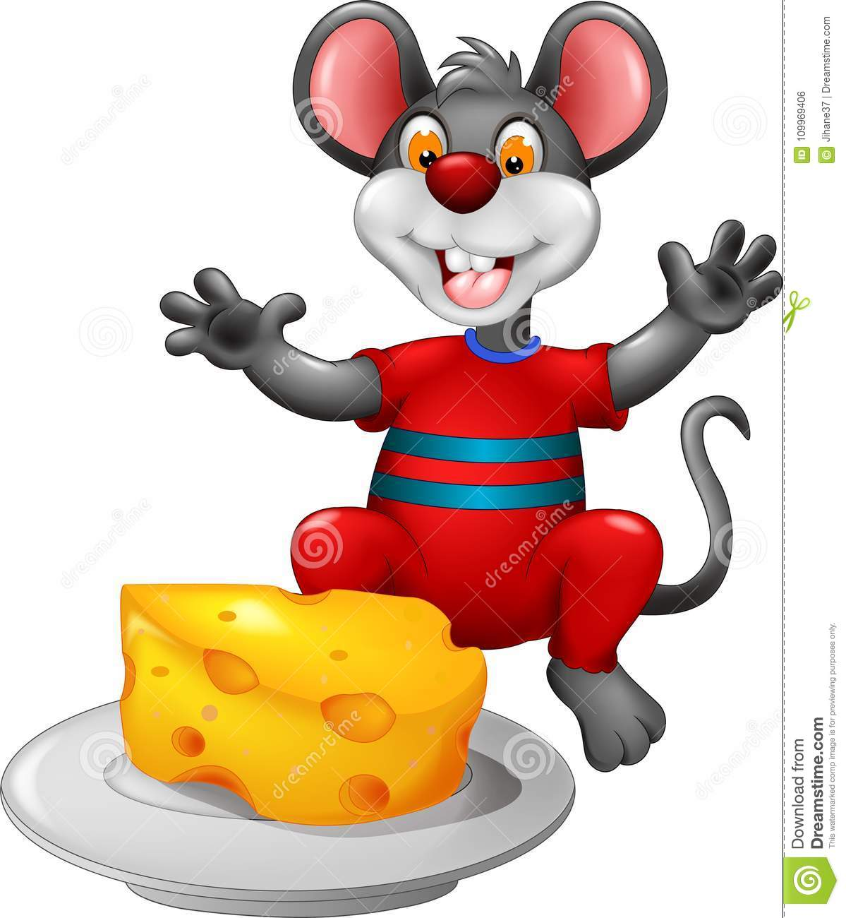 cute mouse cartoon sitting eating cheese with smile and waving stock
