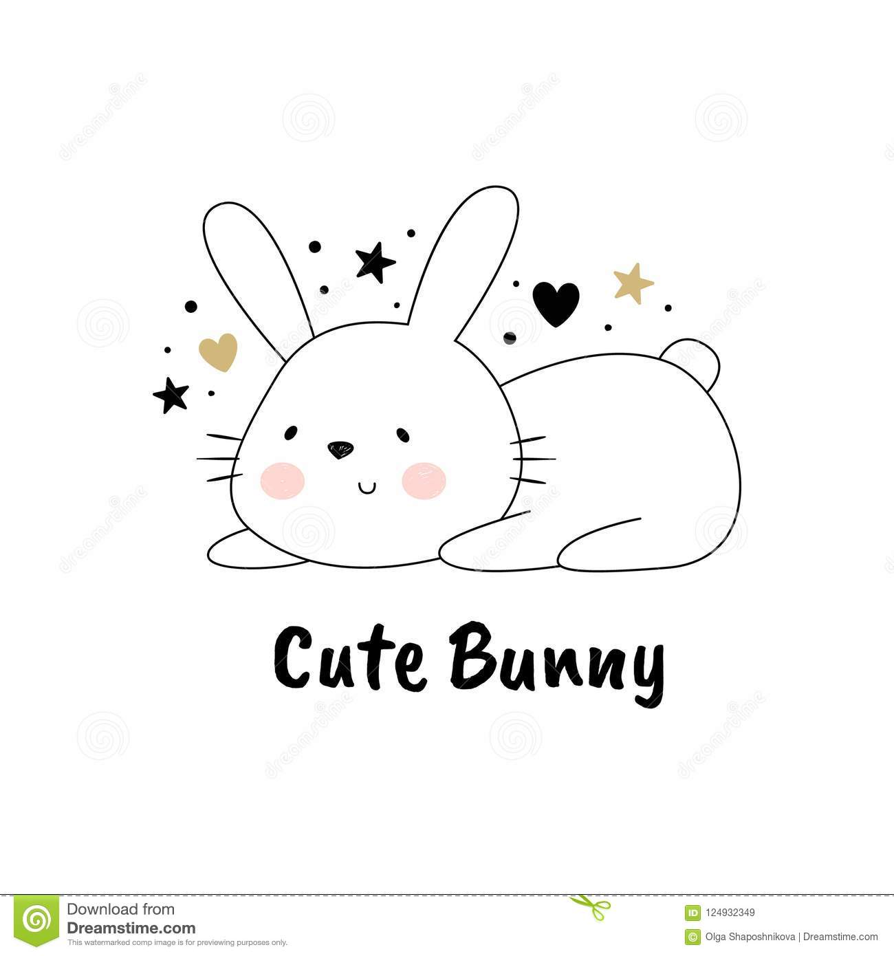 Vector Illustration Of A Cute Rabbit The Cartoon Style Drawing By