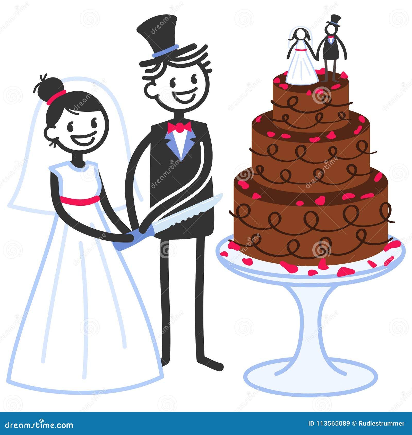 Vector Illustration Of Cute Stick Figures Bridal Couple
