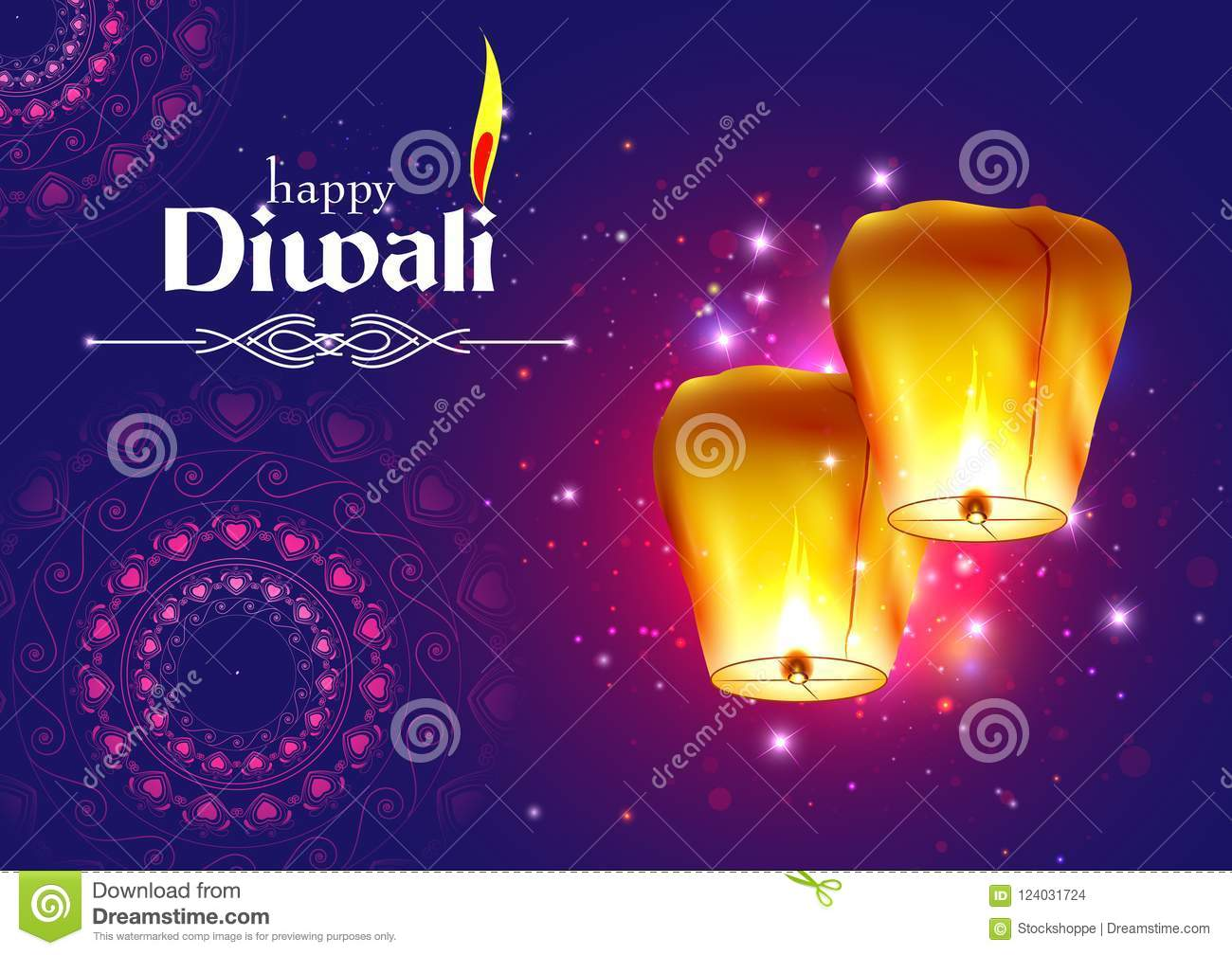 Decorated Floating Sky Lamp For Happy Diwali Festival Holiday