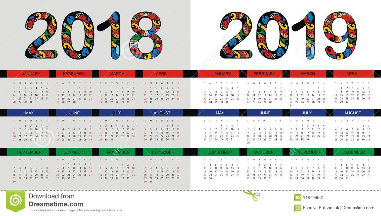 Calendar Number Design : Calendar layout for and years vector design