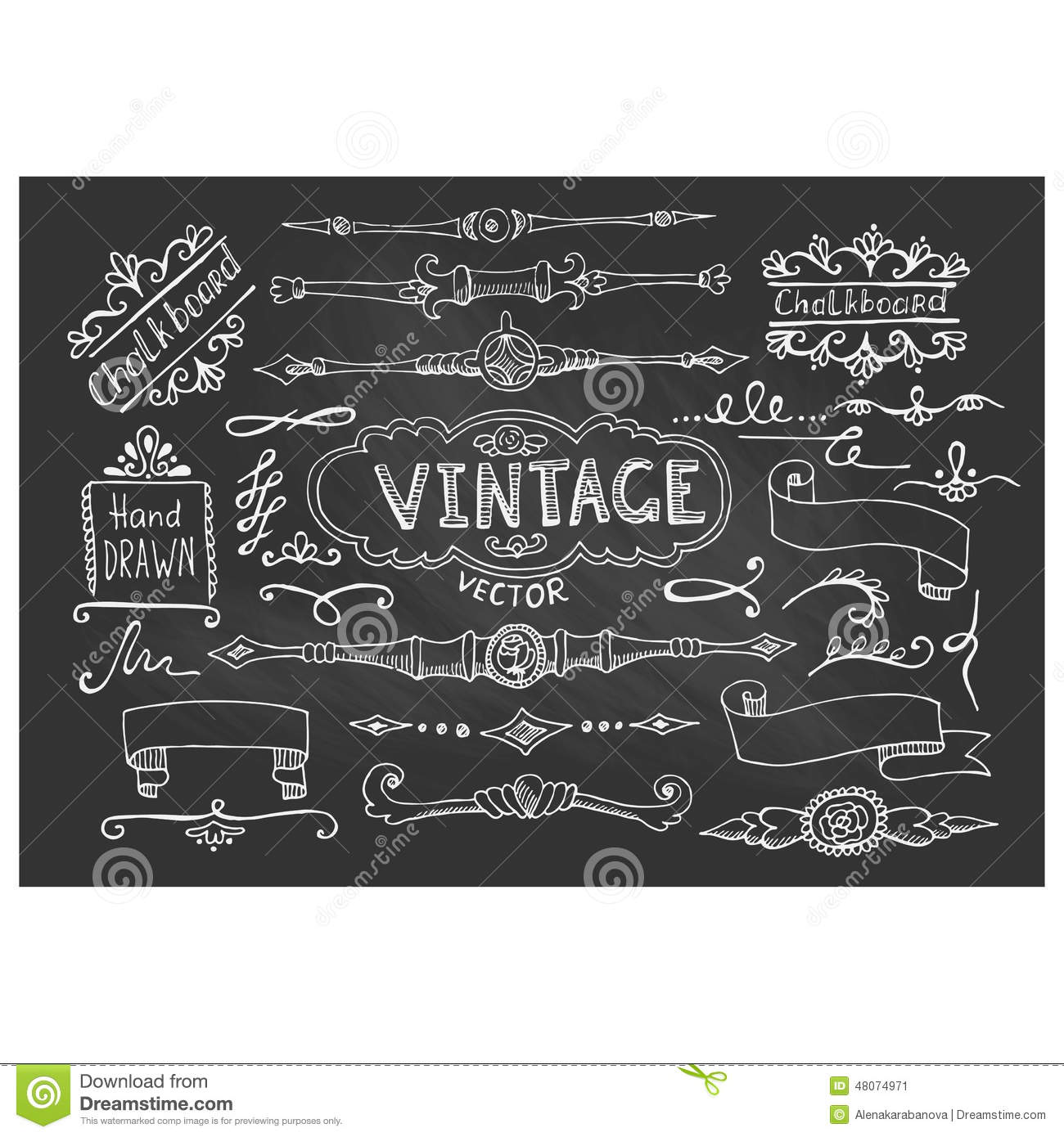 vector illustration of decorative vintage chalkboard elements stock image - Decorative Chalkboards