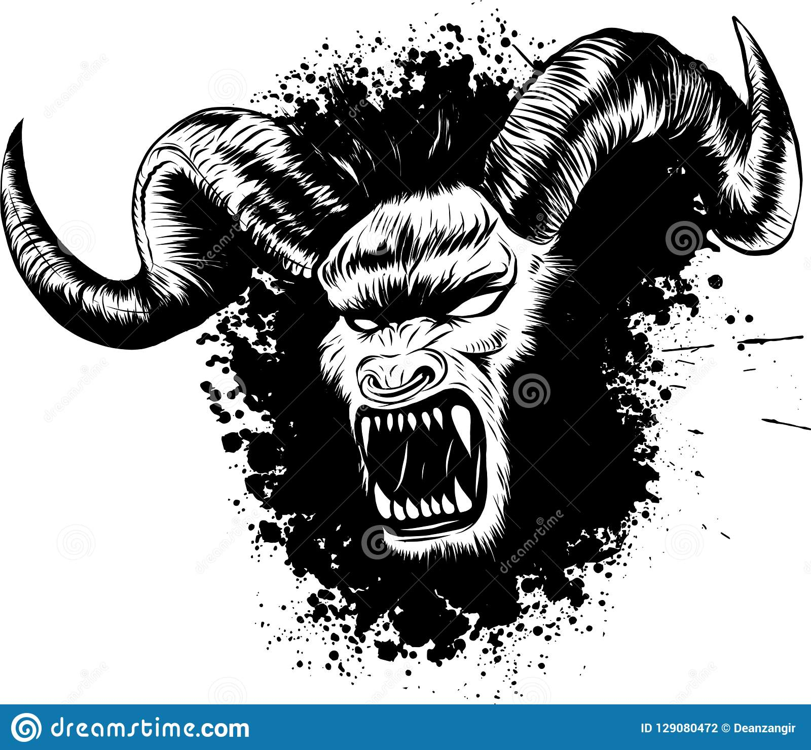 Vector Illustration Of Diabolik Demon Face Tattoo Stock Vector