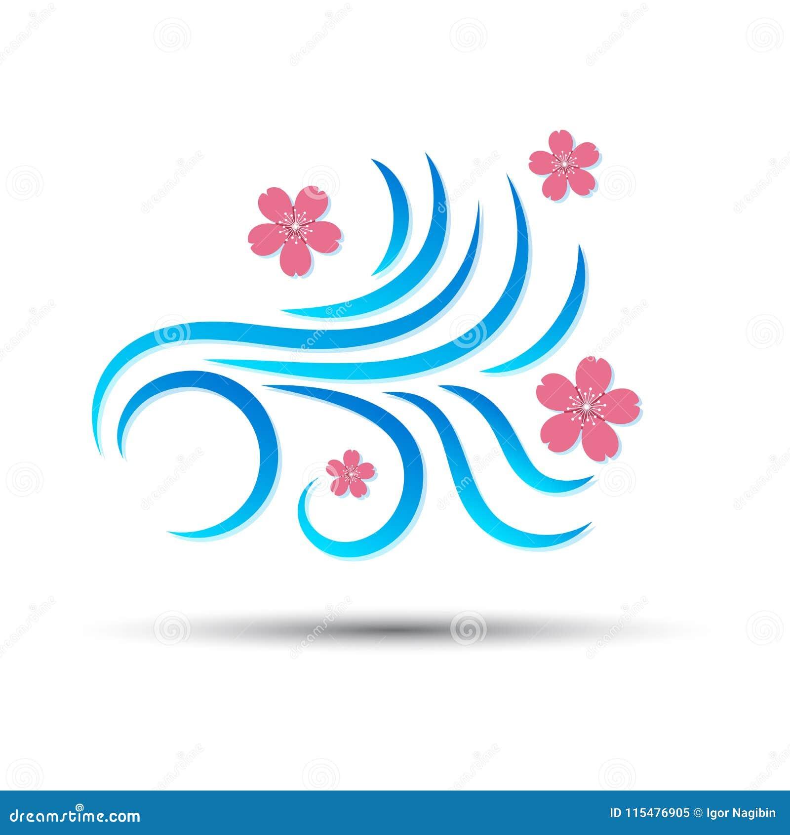 Vector Illustration der Windikone mit rosa fallender Blume Kirschblütes, die auf Weiß lokalisiert wird