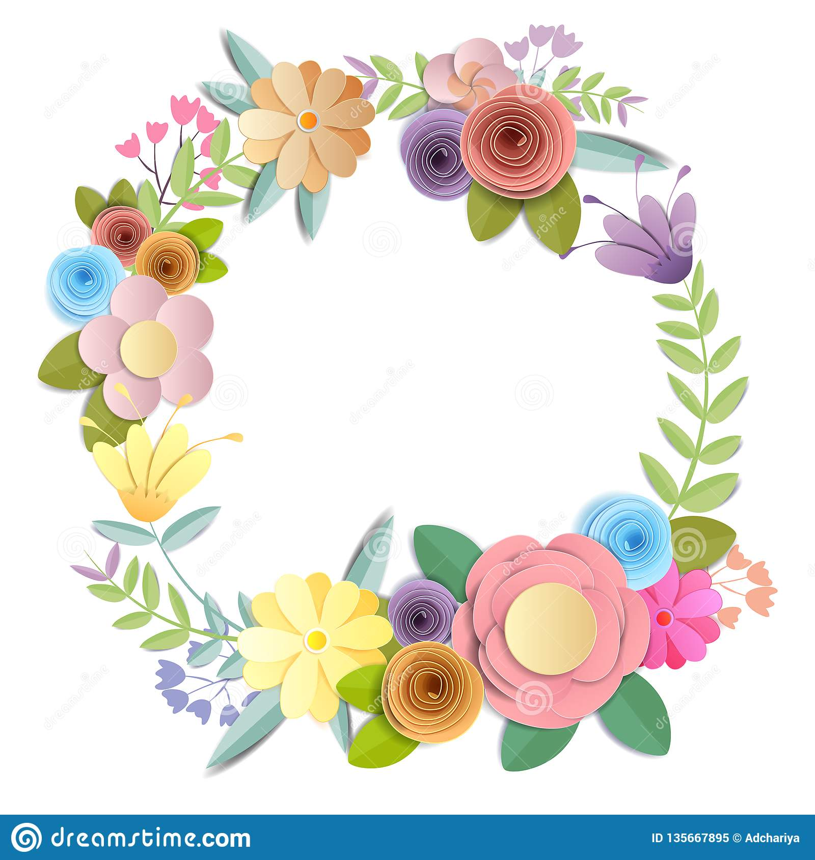 Vector And Illustration Design Craft Paper Flowers Spring Autumn Wedding And Valentine Festive Floral Bouquet Bright Fall Stock Vector Illustration Of Pattern Flora 135667895