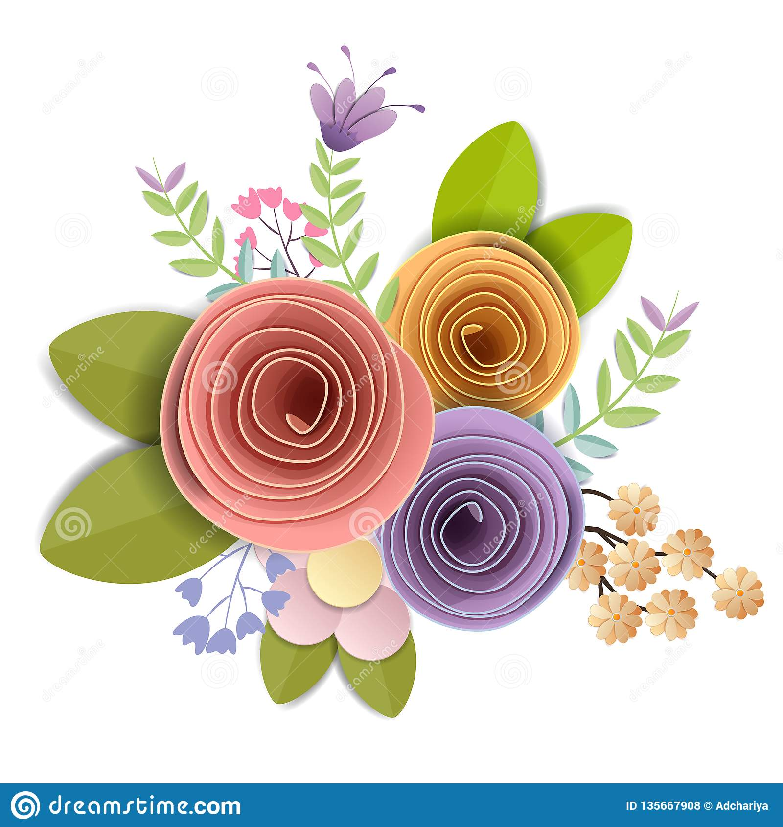 Vector And Illustration Design Craft Paper Flowers Spring Autumn Wedding And Valentine Festive Floral Bouquet Bright Fall Stock Vector Illustration Of Beautiful Refresh 135667908