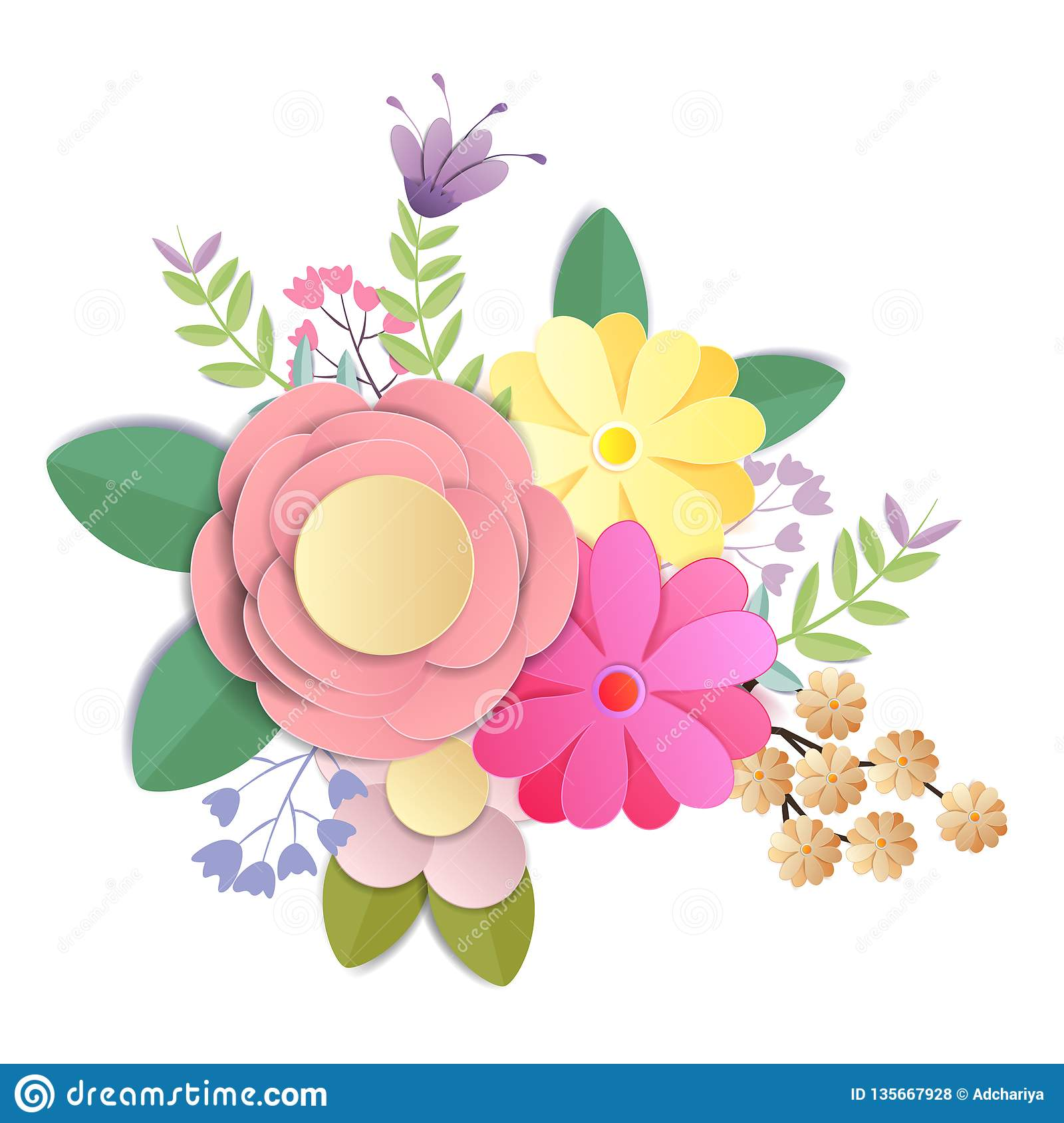 Vector And Illustration Design Craft Paper Flowers Spring Autumn Wedding And Valentine Festive Floral Bouquet Bright Fall Stock Vector Illustration Of Paper Isolated 135667928