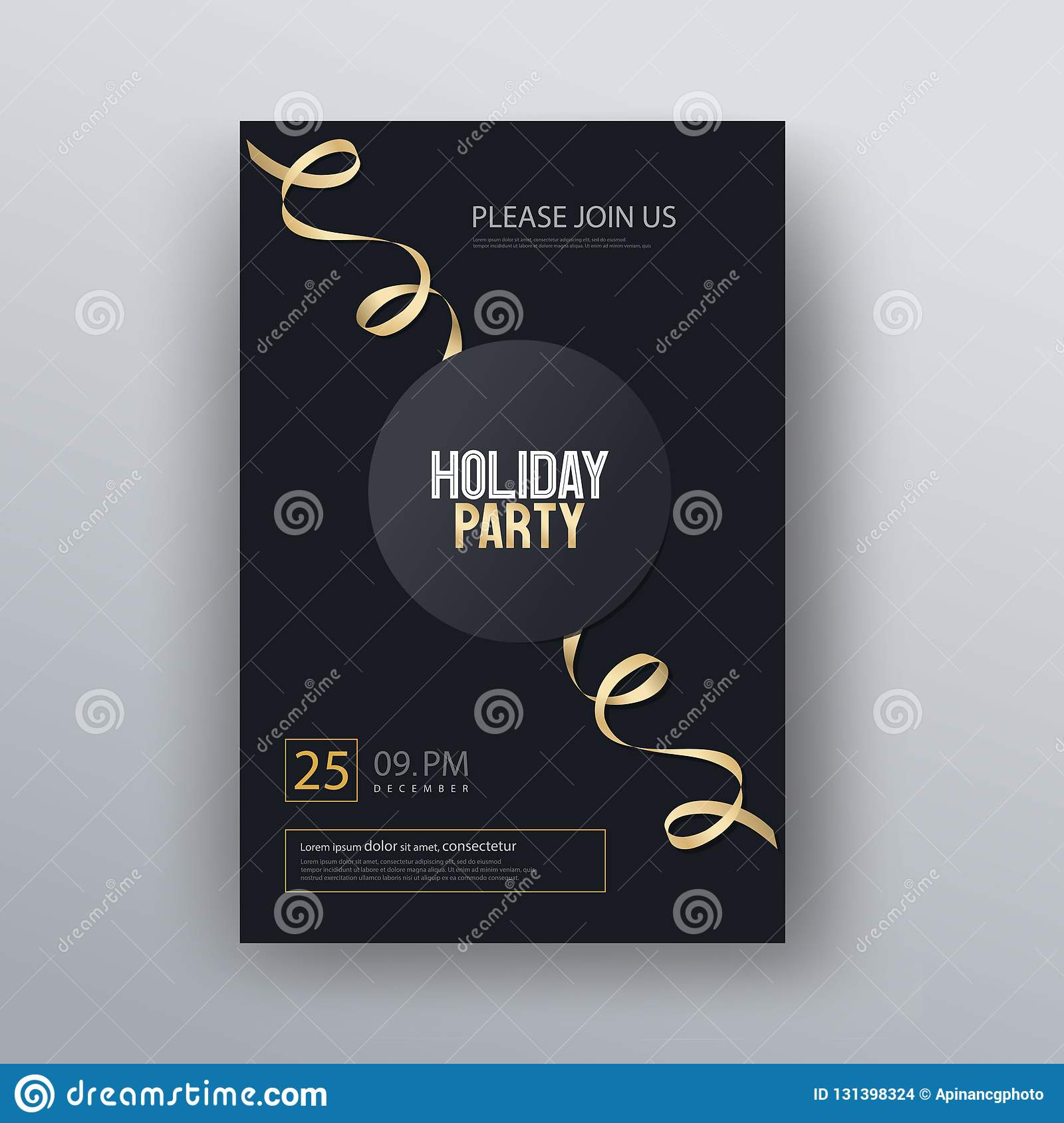 vector illustration design for holiday party and happy new year party invitation flyer