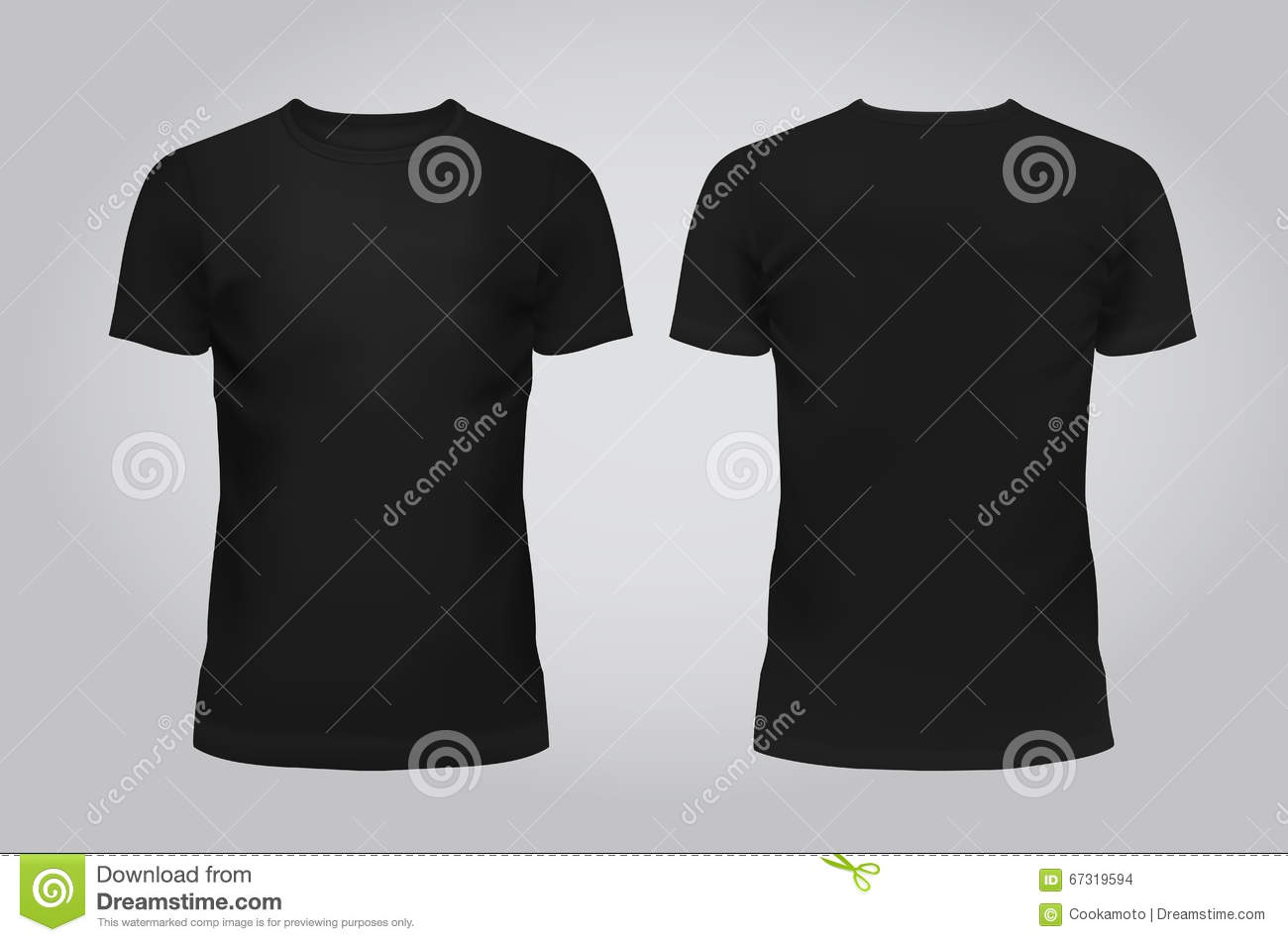 Vector illustration of design template black men T-shirt, front and back on a light background. Contains