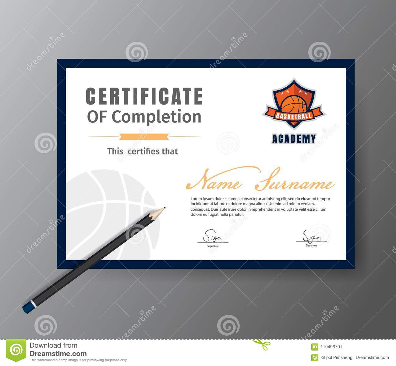 Vector Template For Certificate Of Basketball Training Course Stock ...