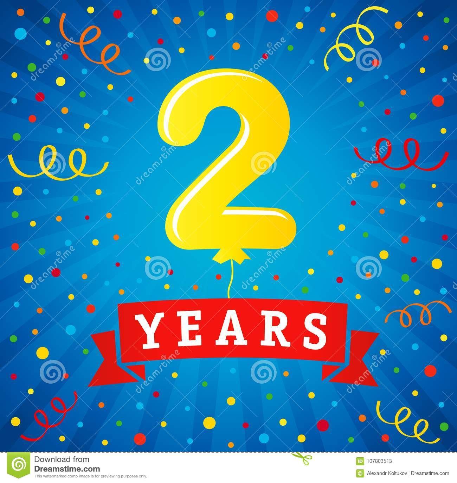 2 years anniversary celebration with colored balloon  u0026 confetti stock vector