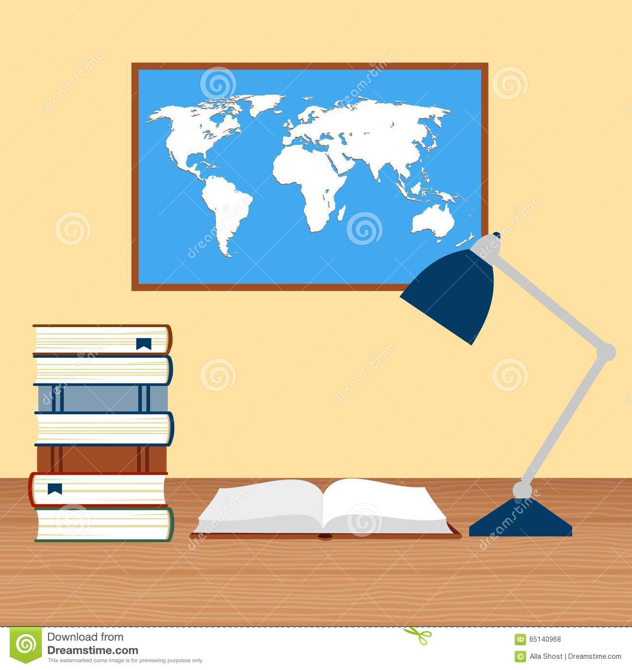 Desk with lamp and stack of books against the background of the desk with lamp and stack of books against the background of the world map royalty free vector gumiabroncs Image collections