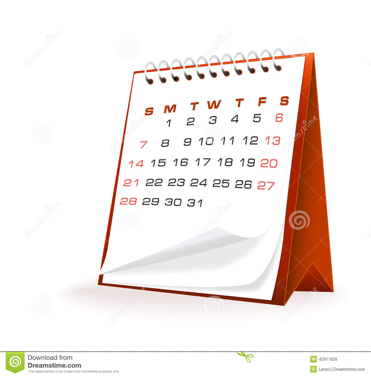 Calendar Illustration Vector : Vector illustration of desktop calendar stock