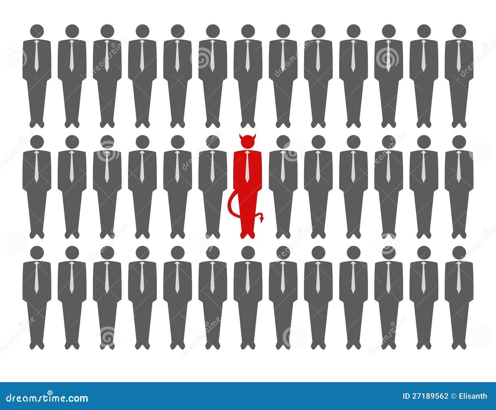 Vector illustration of devil in crowd