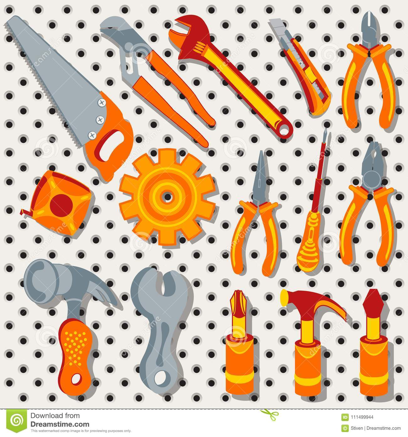Collection of different tools over metal background, 3