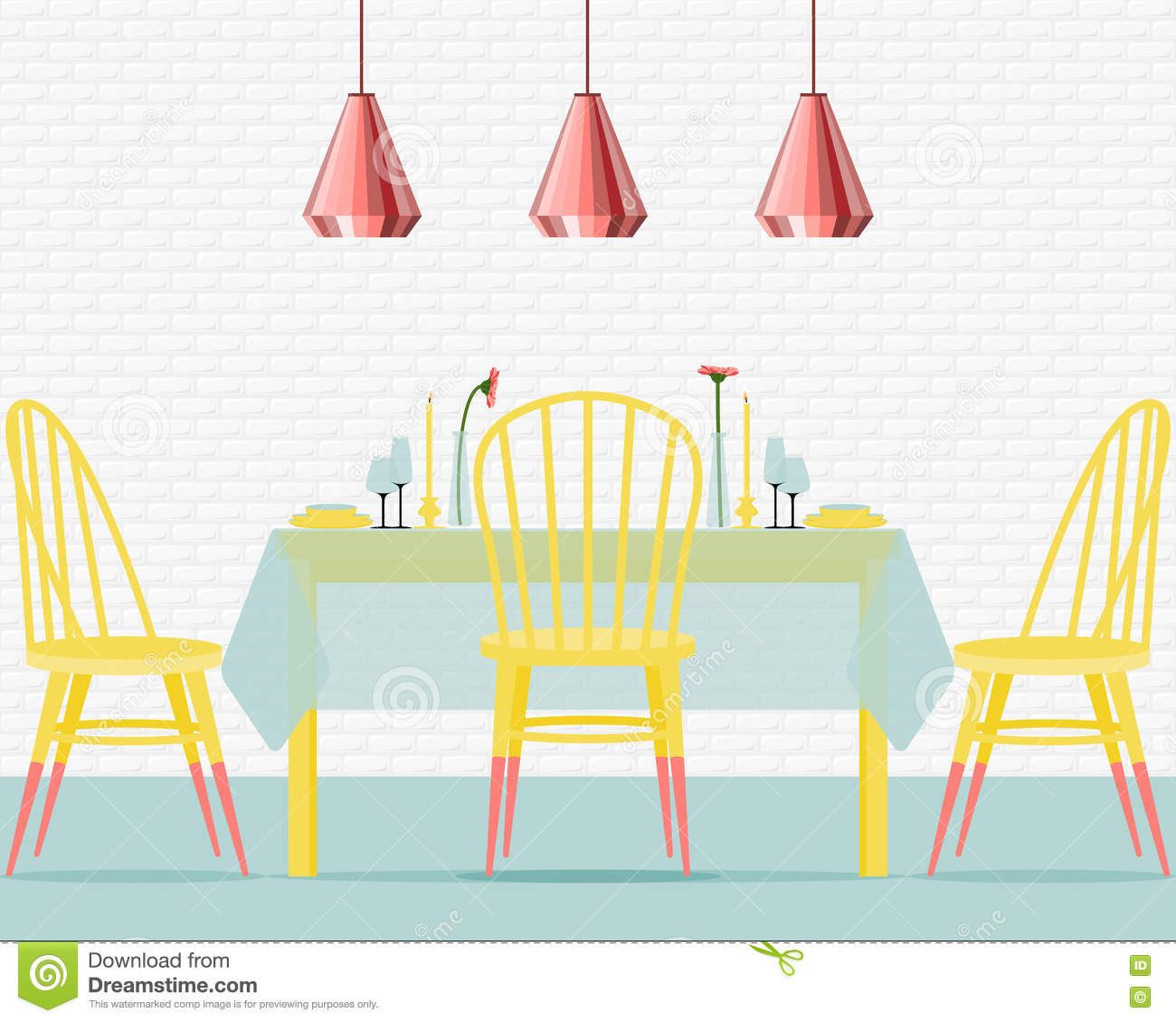 Flat Design Interior Dining Room Vector Illustration Stock: Vector Illustration With Dining Room In Flat Style. Stock